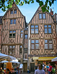 Two houses or three houses? (Tiigra) Tags: tours indreetloire france 2010 architecture cafe carving city door gothic medieval wall window wood pattern