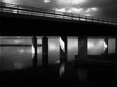 P1010961-Edit (vargandras) Tags: bridge landscape lake water sunlight shadow reflection pier deck clouds sky concrete rail lumix mft tampere suomi finland blackandwhite bnw bw monochrome