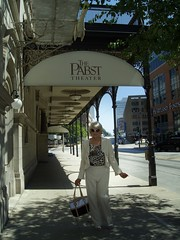 Another Street, Another Outfit, Another Year (Laurette Victoria) Tags: pants pantsuit purse milwaukee sidewalk downtown sunglasses laurette woman
