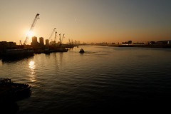 Last trip of the day (S Clark) Tags: sunset royalvictoriadock docklands dock fujifilm fujilovers fujifilmxt100 timeoutlondon london londonlife londoncityairport eastlondon pontoondock universityofeastlondon boats tugboat newham canarywharf royalalbertdock sirsteveredgrave