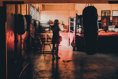 Travels in West Africa (elsableda) Tags: ghana accra west africa lights boxing shadow selfportrait girl