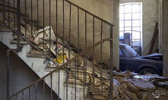 il collezionista... (Left in the Lurch) Tags: urbex abandoned stairs hoarder alfa romeo