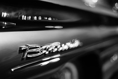 Starting With B (belleshaw) Tags: blackandwhite cornfeedrun chino carshow classiccar chrome letters badge metal trim fender tire whitewall reflections shine detail texture