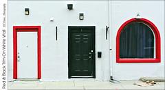 Red & Black Trim On White Wall (jwvraets) Tags: woodstock wellingtonstreet dundasstreet downtown white wall trim door window black red redrule opensource rawtherapee gimp nikon d7100 afsdx18105mmvr