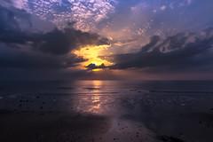 Golden (Katja van der Kwast) Tags: 2019 nederland the netherlands ouddorp strand beach sea zee sunset zonsondergang sun zon beams stralen sky lucht reflection reflectie