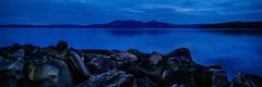 Arran In Blue Too (Brian Travelling) Tags: scotland pentax pentaxk20d peaceful blue bluehour sky clouds reflection hunterston isleofarran arran firthofclyde water