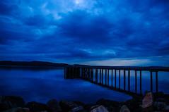 Paint Me Blue (Brian Travelling) Tags: scotland pentax pentaxk20d peaceful blue bluehour sky clouds reflection hunterston isleofarran arran firthofclyde water
