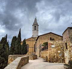 one last view (ekelly80) Tags: italy tuscany april2019 spring countryside pienza view walls townwalls stone cypress trees cathedral church cathedralofpienza steeple belltower tower cloudy moody sky