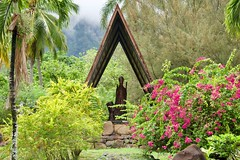 Peace & Serenity (jjknitis) Tags: 2019 cruise eurodam flowers garden gare hollandamerica island march30 marquesas notredame nukuhiva polynesia shelter southpacific statue