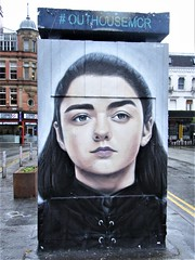 Manchester street art - Game of Thrones = Stevenson Square (rossendale2016) Tags: dvd fiction science encampment medieval battles killing kill fighting fight sword castle wales scotland england ireland croatia america fil starring star actress actor williams masie shops busy north area ended popular series tv thrones portrait lifelike neat color colour colourful colorful black toilets toilet old route bus painted iconic icon artistic clever immaculate quarter northern square stevenson television sky film britain great kingdom united uk centre city throne game art street manchester