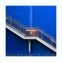 Swedish Blue (Blende1.8) Tags: fireescape feuertreppe notausgang emergencyexit stair stairs stairways treppe blau blue facade outdoor store möbelhaus iphone stahl stahltreppe steel square symmetry symmetrie wuppertal bergischesland