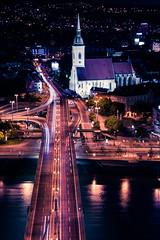 Spirits above and behind me (Jim Nix / Nomadic Pursuits) Tags: 28300mm bratislava danuberiver easterneurope europe jimnix lightroom nikon nomadicpursuits slovakia aerial cityscape night nighttime photography travel