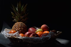 DSC_1042_5293. Still life. (angelo appoloni) Tags: pineapple peaches pears oranges red apples clementines crochet lace wicker basket ananas pesche pere arance mele rosse clementine pizzo alluncinetto cestino di vimini