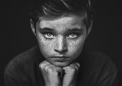 Middle Child ({jessica drossin}) Tags: jessicadrossin child kid freckles wwwjessicadrossincom face portrait eyes hair hands dark black white low key actions