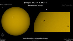 Sun_Composite_20190508_HomCavObservatory_ReSizedDown2HD (homcavobservatory) Tags: homcav observatory solar sunspot ar2738 whitelight baader filter orion ed80t cf 80mm f6 aprochromatic refractor 8inch f7 criterion newtonian reflector zwo asi290mc planetary camera autoguider losmandy g11 mount gemini 2 control system sharpcap astronomy astrophotography
