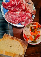 Tuscan snack (ekelly80) Tags: italy tuscany april2019 spring sangiovannidasso countryside snack meat pickled vegetables bread salami food table kitchen home airbnb