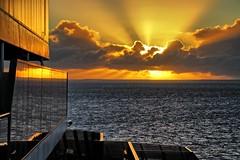 Reflections. (Ian Ramsay Photographics) Tags: carnivalspirit southpacific cruises coordinates sunny sunrise yellow sky cloud morning