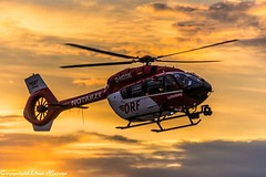 DRF Luftrettung HSD D-HDSK bei Sonnenuntergang in HAJ (U. Heinze) Tags: aircraft haj hannoverlangenhagenairporthaj hubschrauber helicopter eddv drf luftrettung hsd