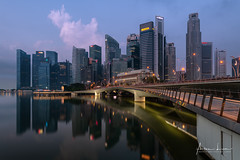 Early Morning At Marina Bay II (Alec Lux) Tags: sands singapore architecture bay blue bluehour building buildings city cityscape design exterior facade golden goldenhour haida haidafilters lights longexposure marina modern outdoor outside skyline skyscraper tower urban water