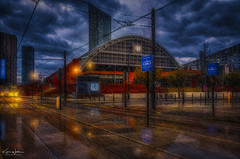 Look Both Ways (Kev Walker ¦ 10 Million Views..Thank You) Tags: architecture building city england manchester panoramic sky town water art background bridge britain buildings business canal castlefield center centre cityscape design downtown dusk europe european great kingdom landmark light metropolitan modern night places quays quayside reflection salford skyline skyscraper square symbol tourism tower travel twilight uk united urban view yellow trams transport rain reflections