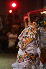 Dancers At Night (peterkelly) Tags: digital northamerica yucatán canon 6d gadventures mayandiscovery mérida plazagrande square plaza dancing dance dancer celebration traditional women costume clothing mexico