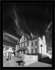 moon over Rathaus Reinfeld (Dierk Topp) Tags: a7r bw ilce7r ir sonya7rir architecture clouds infrared monochrom moon rathaus reinfeld sw sony