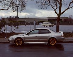 Sunnyvale, California (bior) Tags: pentax645nii pentax645 6x45cm ektachrome e200 kodakektachrome slidefilm mediumformat 120 sunnyvale street fence rain suburbs car