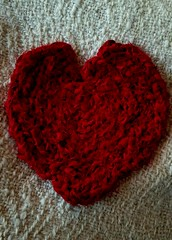 Lucet cording from fabric strips made into a heart. (Sweet Annie Woods) Tags: