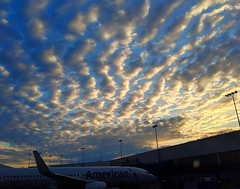 sunrise delay (ekelly80) Tags: michigan home easter april2019 spring dtw detroit airport americanairlines plane sky sunrise clouds light glow delay tarmac morning