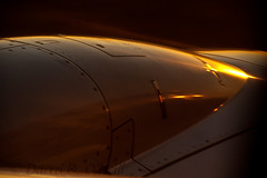 Alar Stylings 8 (LongInt57) Tags: aircraft airplane jet engine yellow golden white red orange sunset seattle washington usa seatac airport