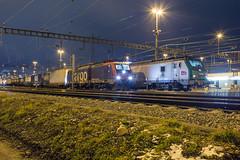 SBB 474 015 + SNCF 437 056 Muttenz Yard (daveymills37886) Tags: sbb 474 015 sncf 437 056 muttenz yard baureihe es64f4 siemens alsthom