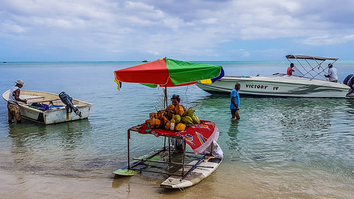 "The ""beach bar"" on the Île aux Bénitiers. Fruit, juices with and without rum"