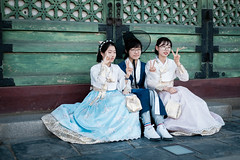 Traditional korean costume hanbok (kitsunekuma) Tags: fujifilm xpro1 classic chrome hanbuk korea korean seoul temple shrine palace gyeonbokgung beautiful dress asian asia girl traditional xf 35mm f2 50mm street photography