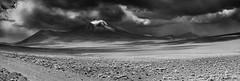 Miniques (John_de_Souza) Tags: johndesouza miniques volcano altiplano sonya7rii zeiss55mmf18 blackandwhite panorama landscape snowclouds clouds