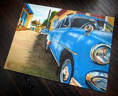 "Cuban Taxis in oils 24"" x 18""... (GP1805) Tags: art arte artist artwork oils painting paintings blue taxis cuba cuban latinamerican derwent winsorandnewton fabercastell dalerrowney"