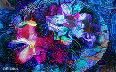 Fantasy Blue (brillianthues) Tags: blue abstract pattern dreamscope flowers orchids colorful collage photography photmanuplation photoshop