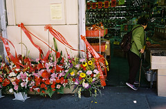 Stockton Street (bingley0522) Tags: contaxiia carlzeissbiogon35mmf28 kodakcolorplus200 sanfrancisco chinatown flower store ordinarythings commonplacethings autaut