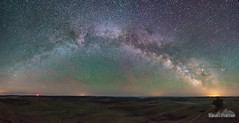 Arching Milky Way (kevin-palmer) Tags: diamondbutte montana custernationalforest scenicview hills sigma14mmf18 milkyway galaxy night sky stars starry space astronomy astrophotography clear dark panorama panoramic stitched rising arch green airglow nikond750 astrometrydotnet:id=nova3383787 astrometrydotnet:status=failed