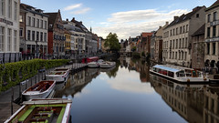 Reflections in the River Leie (Arran Bee) Tags: belgium water river europe long exposure reflections evening blue sky geotagged canon 80d 16x9 flemish gent ghent lys outdoor travel