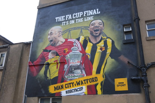Watford General Hospital allowed the BBC to paint a mural on the side of its administrative block on Vicarage Road