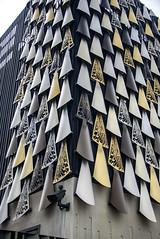Representing a Cloak of Kakapo Feathers (Jocey K) Tags: justiceandemergencyservicesprecinct architecture building artwork cloakofkakapofeathers christchurch newzealand cbd city