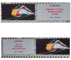 Azuma is Coming. (ManOfYorkshire) Tags: azuma hitachie iep iet at300 express train railway unit class800 doncaster station signs posters adverts advertisement coming new lner eastcoast route ecml