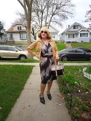 Setting Off For A Few Early Morning Errands (Laurette Victoria) Tags: dress jacket blonde purse sidewalk laurette woman sunglasses