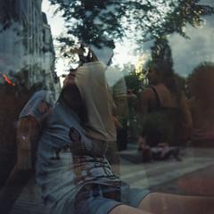 Marie (@bisonmouille) Tags: doubleexposure mediumformat retrato argentique moyenformat lubitel lubitel166u lubitel166 analog parcblandan kodak kodakfilm portrait filmphotography kodakgold sunset film lyon analogico