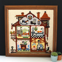 Full House. (Kultur*) Tags: vintage vintagedecor wallhanging homedecor crewelembroidery embroideredpicture needlepointart vintagecrewel walldecor crewelhouse homesweethome handembroidered vintagecrafting
