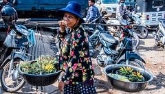 2019 - Cambodia - Sihanoukville - Phsar Leu Market - 6 of 25 (Ted's photos - Returns late November) Tags: 2019 cambodia cropped nikon nikond750 nikonfx tedmcgrath tedsphotos vignetting lady woman yoke plants market phsarleumarket phsarleumarketsihanoukville sihanoukvillephsarleumarket sihanoukville phsarleumarketcambodia motorcycle