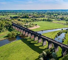 56091 and 56103 on Dutton Viaduct (robmcrorie) Tags: dutton viaduct river weaver cheshire 56091 56103 6z55 chaddesden yard carlisle box wagons class 56 grid dcr phantom 4