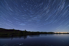 The local reservoir trail (mark_airey - need more hours in the day!) Tags: stars night trails startrail longexposure stacking cumbria trees sky nikon d7000 tokina landscape reservoir water lakedistrict