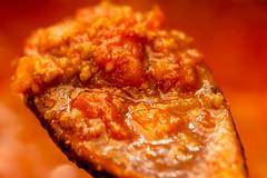 A Spoonful (kurjuz) Tags: aspoonful macromondays ragu cooking food orange red sauce woodenspoon