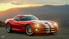 2006 Viper SRT10 Coupe (chumako@bellsouth.net) Tags: sunset scapes photomode gaming polyphony playstation ps4 sony cars racingstripes red srt srt10 viper dodge